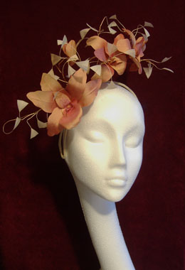 Apricot Silk Orchid Headpiece