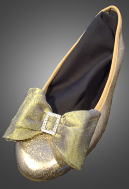 Gold and Lilac Silk Bow Shoe Clips