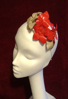 Red and Nude Patent Flower Headpiece
