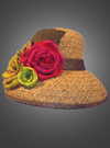Straw Hat with Silk Roses
