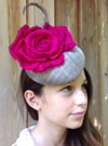 Grey Button with Cerise Rose